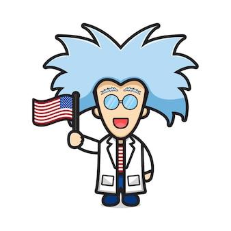 Scienziato carino con un fumetto di capelli pazzi che tiene in mano l'illustrazione della bandiera degli stati uniti d'america