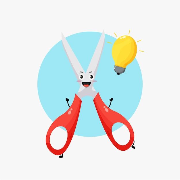 Simpatico personaggio delle forbici con l'idea della lampadina