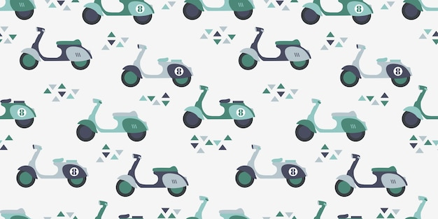 Illustrazione senza cuciture di progettazione della superficie della stampa del modello del fumetto sveglio dello scooter