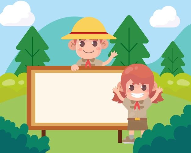 Carino ragazzo scout e ragazza scout cartello in legno con banner