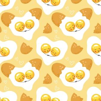 Modello senza cuciture sveglio delle uova strapazzate. Vettore Premium