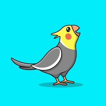 Uccello di cockatiel urlante sveglio