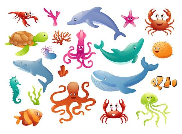 Simpatici animali marini in cerchi di colore per adesivi