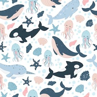 Modello senza cuciture di creature del mare carino