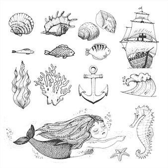 Collezione di simpatici elementi marini