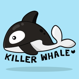 Simpatico cartone animato di vita marina con vocabolario killer whale