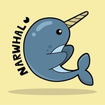 Simpatico cartone animato di vita marina con vocabolario narwhal