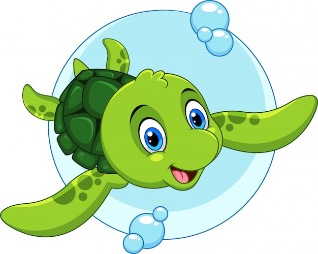 Cartone animato carino tartaruga di mare
