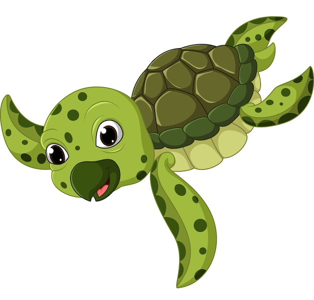Cartone animato carino tartaruga marina