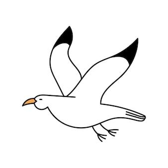 Gabbiano carino in stile doodle uccello bianco illustrazione semplice isolata su sfondo bianco