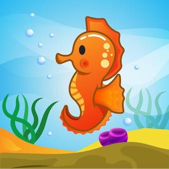 Illustrazione di cavallucci marini carino in underwater
