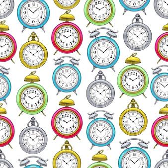 Carino sfondo senza soluzione di continuità di colorato orologio vintage. illustrazione disegnata a mano