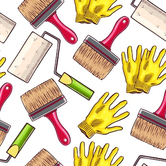 Fondo senza cuciture sveglio degli strumenti di lavoro del pittore. illustrazione disegnata a mano