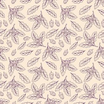 Fondo senza cuciture sveglio di ghiande di schizzo e foglie di quercia. illustrazione disegnata a mano