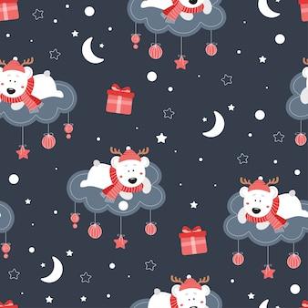 Modello carino natale senza soluzione di continuità con l'orso. simpatico orso su una nuvola. stelle, regali, neve, fiocchi di neve, cappello, sciarpa.