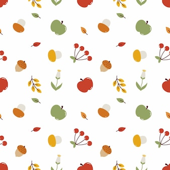 Simpatico motivo autunnale senza soluzione di continuità. carta da parati con raccolto autunnale. sfondo per cucire vestiti e stampare su tessuto. mele, funghi, bacche e foglie su sfondo bianco. progettazione di carta da imballaggio.