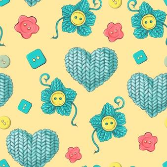Carino seamless pattern di gomitoli di lana