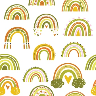 Carino seamless pattern bambini tema arcobaleno su sfondo chiaro.