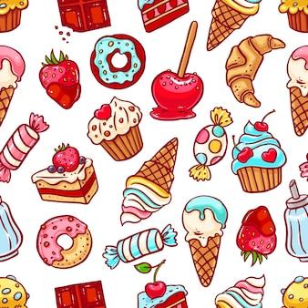Modello senza cuciture sveglio di dolci diversi. illustrazione disegnata a mano