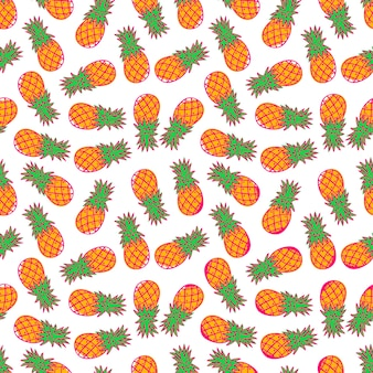Carino modello senza giunture di arancio ananas maturo isolato su uno sfondo bianco. illustrazione disegnata a mano