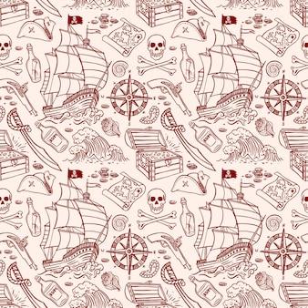 Modello senza cuciture carino di una nave pirata e attributi. illustrazione disegnata a mano