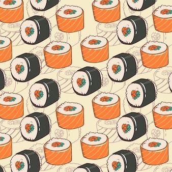 Simpatico modello senza cuciture di sushi giapponese vettoriale per stampe