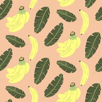 Modello senza cuciture sveglio con foglie di banana e tropicali.