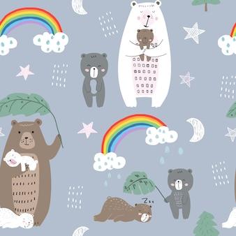 Simpatico motivo senza cuciture con la famiglia degli orsi reticolo infantile senza giunte con gli orsi disegnati a mano