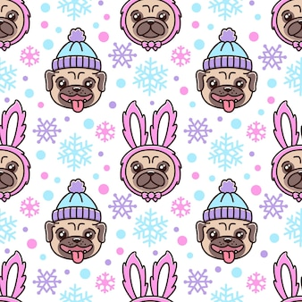 Simpatico motivo senza cuciture con cane di razza carlino con cappello e cane in costume da coniglio