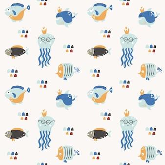 Carino seamless con pesci, delfini, meduse.