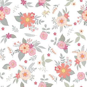 Simpatico motivo senza cuciture con mazzi floreali per tessuti e carta da parati estivi