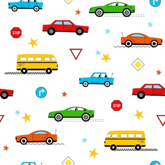 Simpatico motivo senza cuciture con divertenti auto colorate e segnali stradali