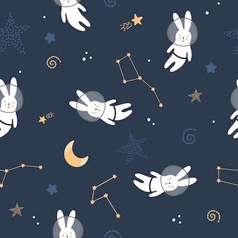 Modello senza cuciture sveglio con lepri nello spazio
