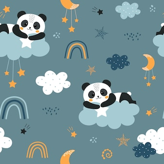 Carino seamless con panda e nuvole.