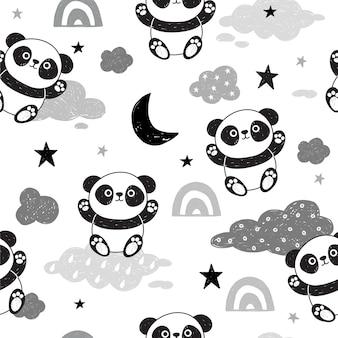 Modello senza cuciture sveglio con i panda.
