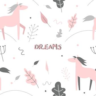 Modello senza cuciture sveglio con cavalli e piante rosa.