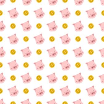 Modello senza cuciture sveglio con maiale rosa e moneta d'oro