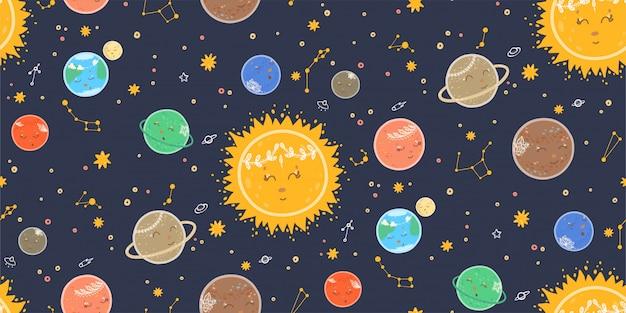 Modello senza cuciture sveglio con pianeti, spazio, stelle, galassie e costellazioni