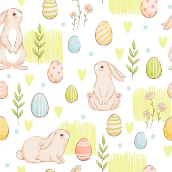 Un simpatico modello senza cuciture con conigli, carote e uova colorate. pasqua primavera design con panini. imitazione di acquerelli fatti a mano. piatto del fumetto. isolato su uno sfondo bianco.