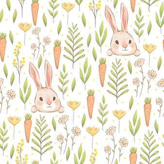 Un simpatico motivo senza cuciture con conigli, carote e fiori, modello primaverile di pasqua con lepri ed erba imitazione di acquerelli fatti a mano cartone animato piatto