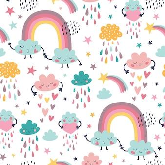 Modello senza cuciture sveglio con arcobaleno e nuvole con gocce di pioggia.