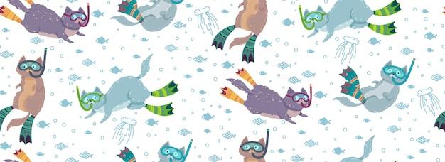 Modello senza cuciture sveglio con i gatti di nuoto circondati dai pesci e dalle meduse.