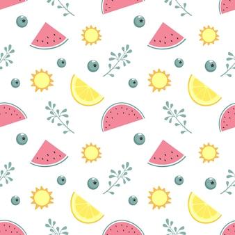 Modello senza cuciture sveglio con anguria, limone e ramoscelli in colori pastello