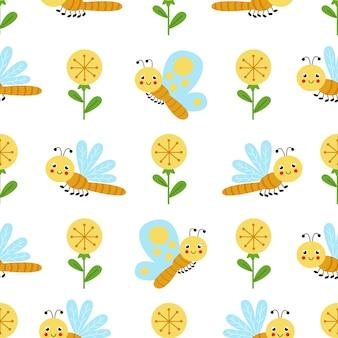 Modello senza cuciture sveglio con fiori gialli e libellula e farfalla del fumetto