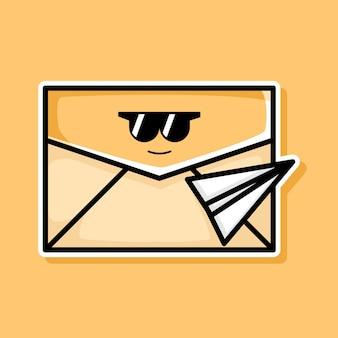 Simpatico disegno di cartone animato di invio di e-mail