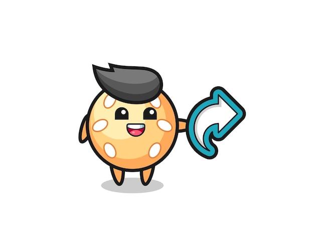 La simpatica palla di sesamo tiene il simbolo della condivisione dei social media, il design in stile carino per la maglietta, l'adesivo, l'elemento del logo