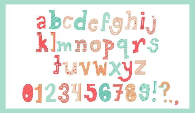 Insieme sveglio del disegno di stile di tipografia della lettera del regalo di natale di alfabeto