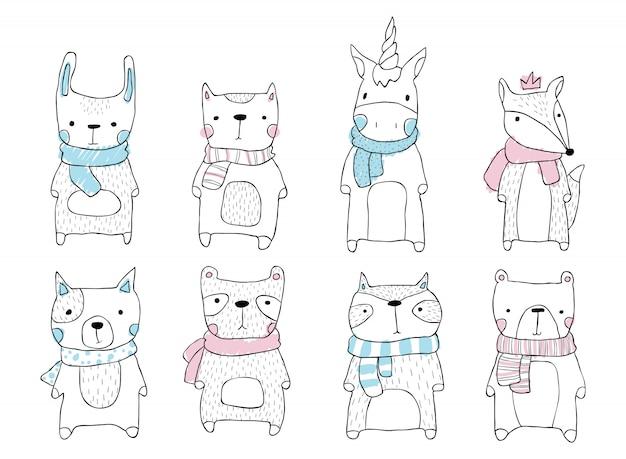 Simpatico set di animali in stile scandinavo per bambini. illustrazione di contorno disegnato a mano lepre, gatto, unicorno, volpe, cane, orso, panda, procione.