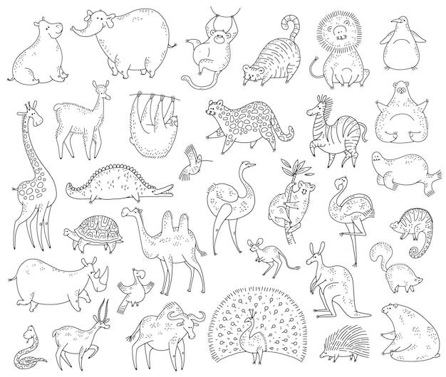 Simpatici animali insieme. illustrazione dei caratteri di doodle del fumetto bianco nero di vettore.