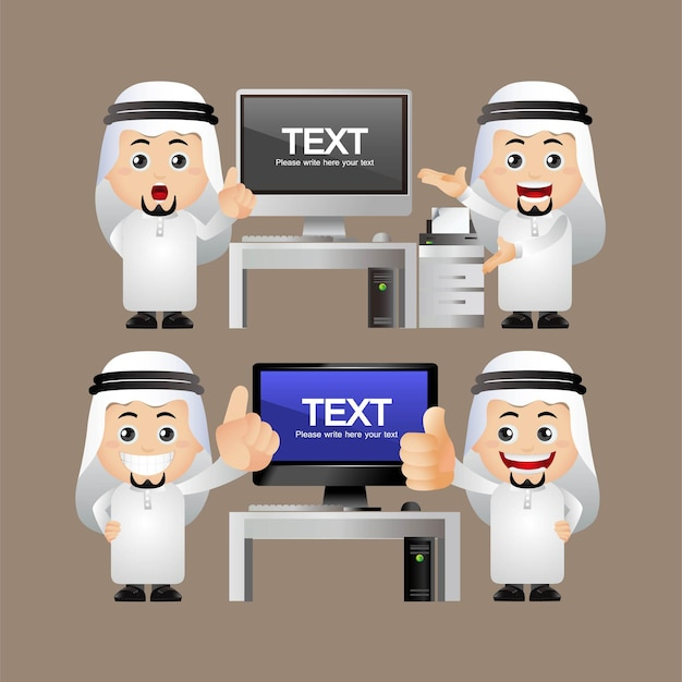 Set carino uomini d'affari arabi